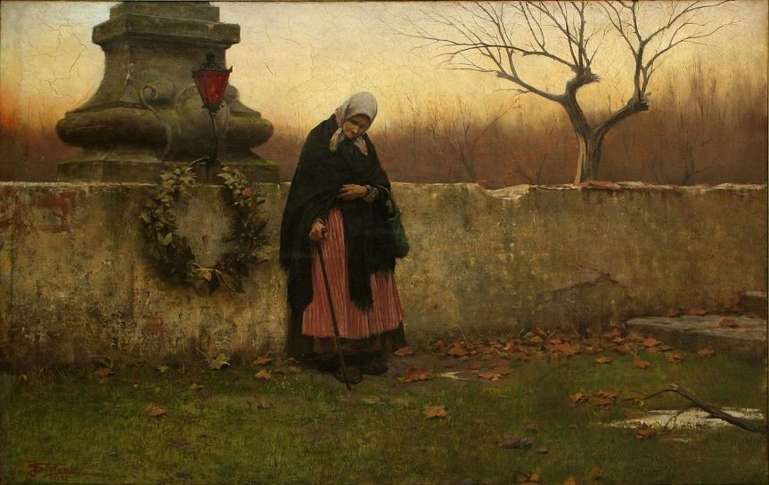 Souls' Day, J Schikaneder 1888. This oil painting shows an praying elderly woman after placing a wreath upon the tombstone of her loved one..jpg